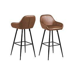 Koňakově hnědá barová židle s kovovým podnožím Actona Candis