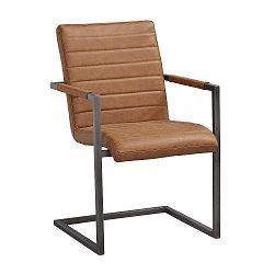 Koňakově hnědá židle s černým kovovým podnožím Folke Clive