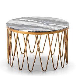 Konferenční stolek s šedou mramorovou deskou Thai Natura, , ∅66cm