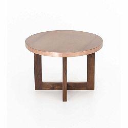 Konferenční stolek z akáciového dřeva s měděnou deskou WOOX LIVING India, 50cm