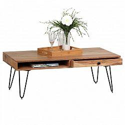 Konferenční stůl se zásuvkou z masivního akáciového dřeva Skyport BAGLI
