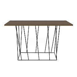 Konzolový stolek s deskou z ořechu a černýma nohama TemaHome Helix