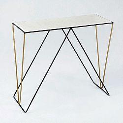 Konzolový stolek s mramorovou deskou a podnožím v černé a zlaté barvě Thai Natura