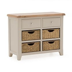 Konzolový stolek z akáciového dřeva s 2 šuplíky a 4 košíky VIDA Living Clemence