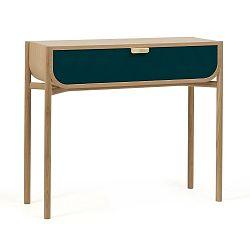 Konzolový stolek z dubového dřeva s modrým šuplíkem HARTÔ Marius