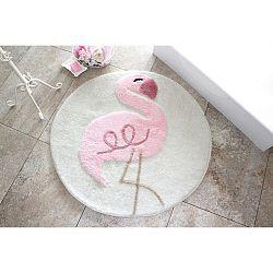 Koupelnová předložka s motivem plameňáka Alessia, Ø 90 cm