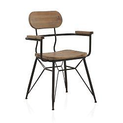 Kovová jídelní židle s dřevěným sedákem a opěrkou Geese