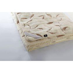 Krémová deka z merino vlny Royal Dream Leaves,140x200cm