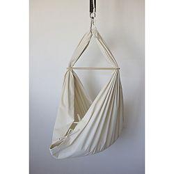 Krémová kolébka z BIO bavlny se zavěšením do stropu Hojdavak Baby