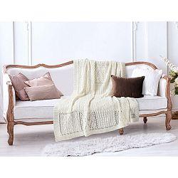 Krémově bílá bavlněná deka Crochet, 130 x 170 cm