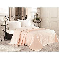 Krémový bavlněný lehký přehoz přes postel Tarra, 220 x 240 cm