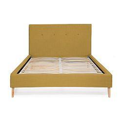 Kukuřičně žlutá postel Vivonita Kent Linen, 200x160cm