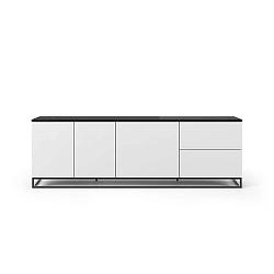 Matně bílý televizní stolek s černou deskou v mramorovém dekoru TemaHome Join, 200 x 65 cm