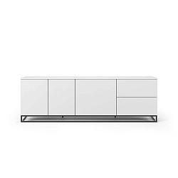 Matně bílý televizní stolek s černými nohami TemaHome Join, 200 x 65 cm