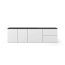 Matně bílý televizní stolek s deskou v černém mramorovém dekoru TemaHome Join, 200 x 57 cm