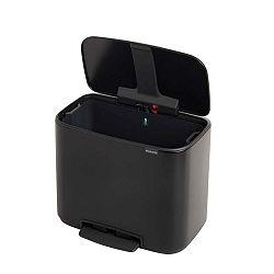 Matně černý odpadkový pedálový koš Brabantia Bo, 36l