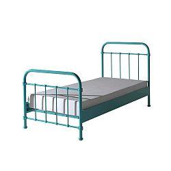 Mátově zelená kovová dětská postel Vipack New York, 90x200cm