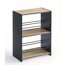 Menší černá knihovna s policemi v přírodní barvě Black Small Bookcase