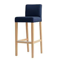 Modrá barová židle s přírodními nohami Custom Form Wilton
