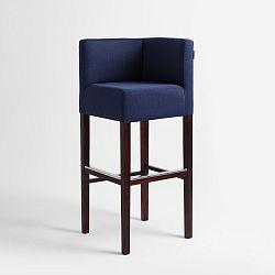 Modrá barová židle s tmavě hnědými nohami Custom Form Poter