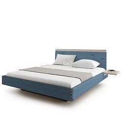 Modrá dvoulůžková postel z masivního dubového dřeva JELÍNEK Amanta, 200x200cm