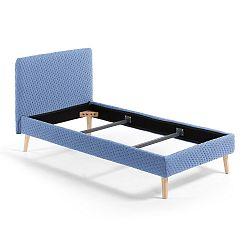 Modrá jednolůžková čalouněná postel La Forma Lydia Dotted, 190x90cm