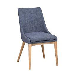 Modrá polstrovaná jídelní židle s hnědými nohami Folke Bea