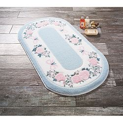 Modrá předložka do koupelny Confetti Bathmats Rose Frame, 80 x 140 cm