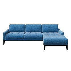 Modrá rohová pohovka s dřevěnými nohami MESONICA Musso Tufted, levý roh