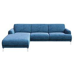 Modrá rohová pohovka s kovovými nohami MESONICA Puzo, levý roh