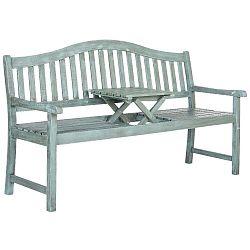 Modrá zahradní lavice z akáciového dřeva s výklopným stolkem Safavieh Bailey