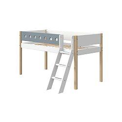 Modro-bílá dětská postel s žebříkem a nohami z březového dřeva Flexa White, výška 120 cm