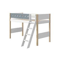 Modro-bílá dětská postel s žebříkem a nohami z březového dřeva Flexa White, výška 143 cm
