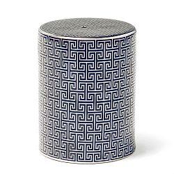 Modro-stříbrná keramická stolička Thai Natura, 33 x 43 cm