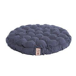 Modrošedý sedací polštářek s masážními míčky Lindy Vrňáková Bloom, Ø65cm
