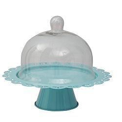 Modrý servírovací stojan na dort se skleněným poklopem Mauro Ferretti
