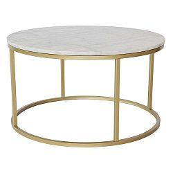 Mramorový konferenční stolek s konstrukcí v barvě mosazi RGE Accent, ⌀85cm