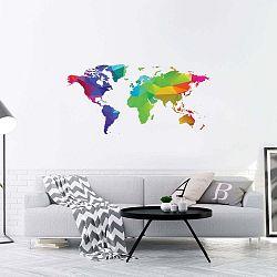 Nástěnná samolepka Ambiance Wall Decal Origami Rainbow World Map, 60 x 120 cm