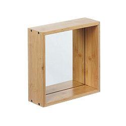Nástěnné zrcadlo s rámem z bambusového dřeva Furniteam Design, 26 x 26 cm