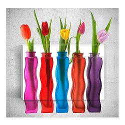 Nástěnný 3D obraz Mosticx Bottles With Flowers, 40 x 60 cm