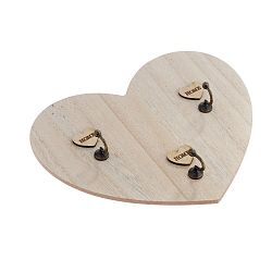 Nástěnný dřevěný věšák na klíče ve tvaru srdce Dakls Ruseno