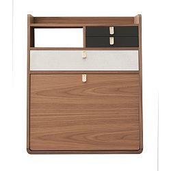 Nástěnný sekretář z ořechového dřeva s šedými a bílými zásuvkami HARTÔ Gaston, šířka60cm