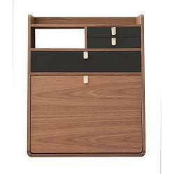Nástěnný sekretář z ořechového dřeva s šedými zásuvkami HARTÔ Gaston, šířka60cm