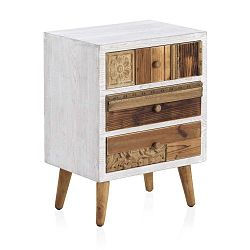 Noční stolek s bílými detaily a třemi šuplíky Geese Rustico Puro, 48,5 cm x 65 cm