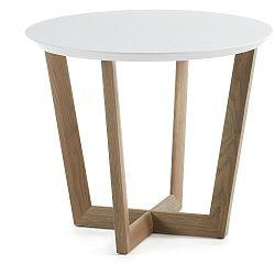 Odkládací stolek z dubového dřeva s bílou deskou La Forma Rondo, ⌀60cm