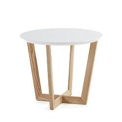 Odkládací stolek z jasanového dřeva s bílou deskou La Forma Rondo
