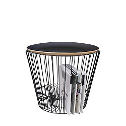Odkládací stolek z lakovaného kovu s černou deskou HARTÔ, Ø 50 cm