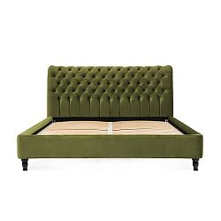 Olivově zelená postel z bukového dřeva s černými nohami Vivonita Allon, 140 x 200 cm
