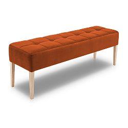 Oranžová lavice s dubovými nohami Mossø Hattu, délka 152 cm