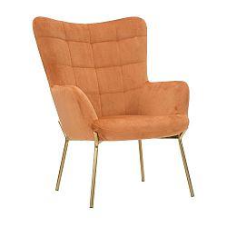 Oranžové křeslo s železnými nohami zlaté barvy Mauro Ferretti Onnimus